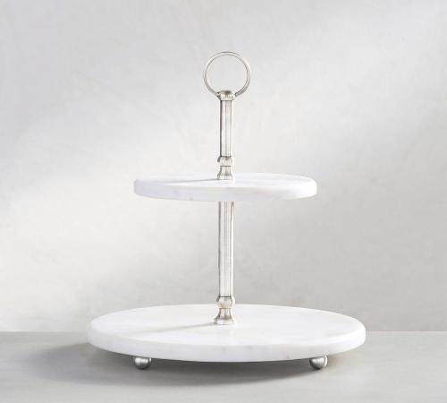 pottery barn white marble tierd stand