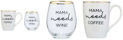 Mama needs coffee and wine set - mothers day gift